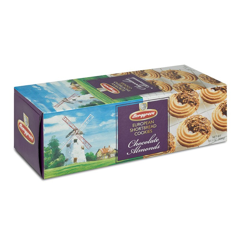 European Shortbread Cookies Chocolate Almonds - Borggreve rusk and biscuit factory, Germany