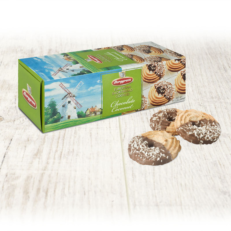 European Shortbread Cookies Chocolate Coconut - Borggreve rusk and biscuit factory, Germany