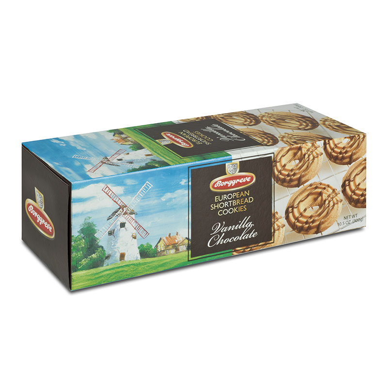 European Shortbread Cookies Vanilla Chocolate - Borggreve rusk and biscuit factory, Germany