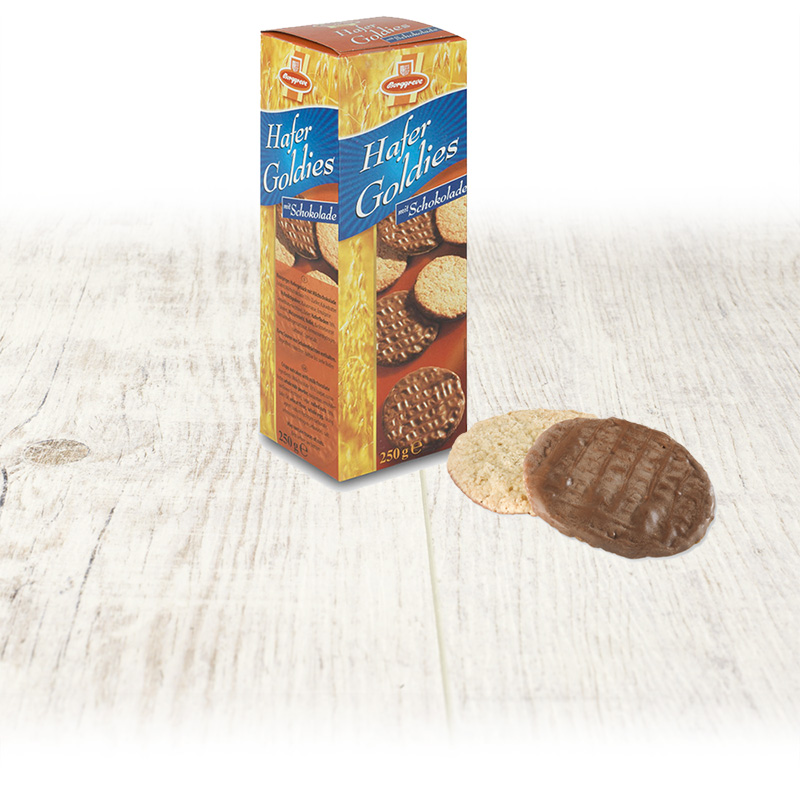 Crispy oat flakes cookies with milk chocolate -  Borggreve rusk and biscuit factory, Germany
